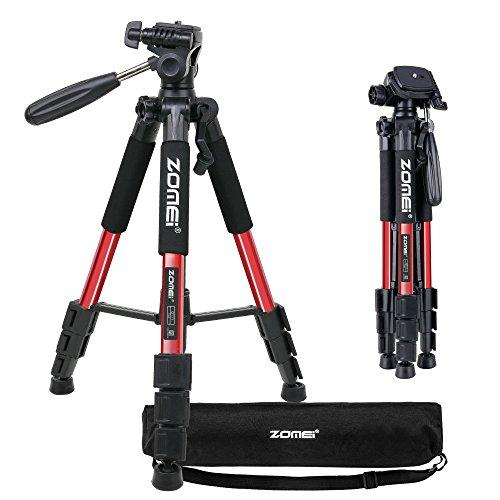 ZOMEI Pro tragbare Kompaktkamera Das Stativ mit Pan Head Quick-Release für digitale Kamera Stativ Q111 Max Height: 140CM(Rot)