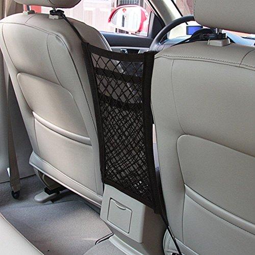 MAXTUF Auto Netz 3 Schichte Auto Rücksitz Netz Organizer Tasche mit 4 Haken Universal für Kinder Trinkflasche Spielzeug Beutel