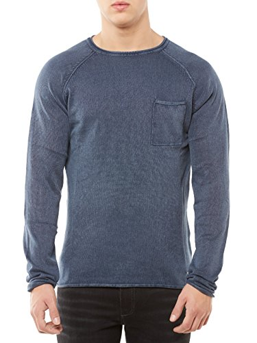 SOLID Pullover Herren Strickpullover Acid-Washed Crew-Neck Vintage Rundhalskragen S dunkelblau (Crewneck Solid Pullover)