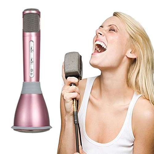 K068 Koly Altavoz Mini Handheld de Bluetooth del jugador del Karaoke del micrófono KTV del Mic (Rosa)