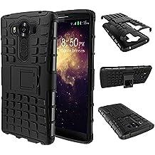 LG V10 Funda, HuaForCity® Dual Layer Heavy Duty Rugged Armor Cáscara Choque Absorción Protección Funda con Soporte Carcasa Case para LG V10-Negro