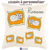 Texti-cadeaux, Coussin toucher très doux, motif Chat sur un coussin à personnaliser avec Prénom…