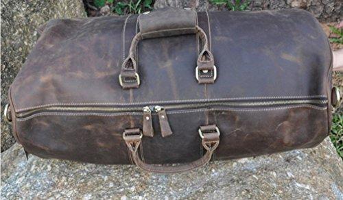 Le 'aokuu Herren Echtes Leder Travel Gepäck duffly Gym Carry On Tote Taschen Dunkelbraun