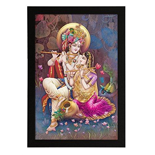 Delight Radha Krishna Playing Flute Digital Printed UV Photo Frame