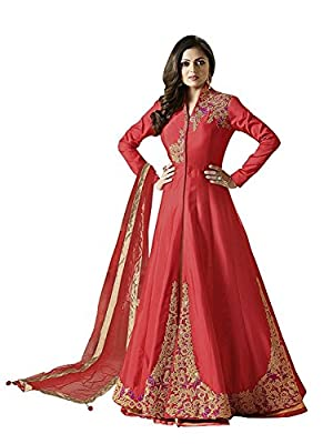 Anarkali ( Shoponbit Peach Colour Tafeta Silk Embroidered Full Stitched Party Wear Anarkali Suit ) - Peach Type: Full Stitched