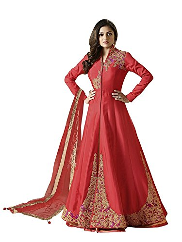 Drashti Dhami Red Taffeta Silk Long Anarkali Suit  available at amazon for Rs.1799