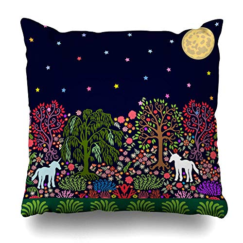 Dekokissen Abdeckung Square Moon Green Garden Fantasy Nacht Magic Forest Folk Einhörner Parks Pink Willow abstrakte Nouveau Kissenbezug Home Decor Kissenbezug 18 x 18 Zoll Nouveau Willow Green