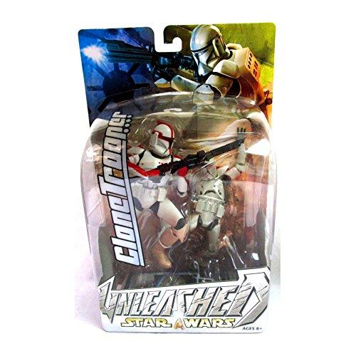 Star Wars Jahr 2003Unleashed 17,8cm hoch Action Figur-Variante rot gestreift Clone Trooper mit Blaster Gewehr und Diorama Display Boden