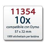 10x Label kompat. zu Dymo 11354 57 x 32 mm 1000 Label Etiketten pro Rolle