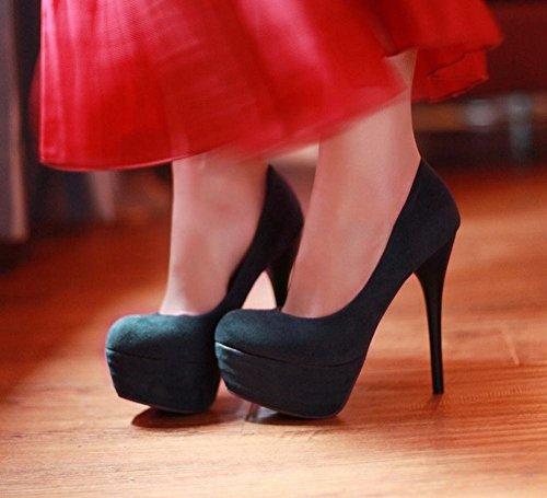 Mee Shoes Damen modern reizvoll Nubukleder Stiletto Geschlossen runder toe Plateau Pumps Dunkelblau