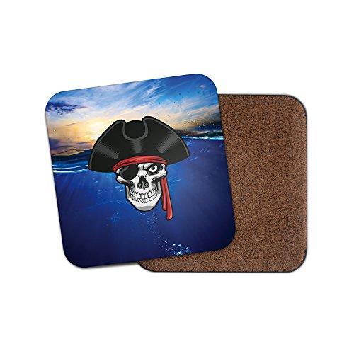 Jolly Roger Totenkopf Pirat mit Unterseite aus Kork Getränke Untersetzer für Tee & Kaffee # 4255, holz, 2 Coasters -