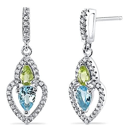 Revoni Swiss Blue Topaz and Peridot Earrings Sterling Silver Pear Shape 1.50 Carats Total