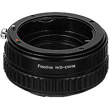 Adaptador de montura de lente Fotodiox Pro, Nikon Nikkor (incluye G y D-tipo) a montura Canon EF-M(EOS M) Digital con cámara sin espejo para enfoque helicoidal
