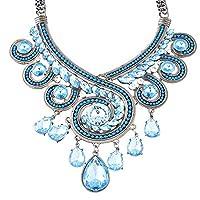 MJARTORIA Women's Boho Blue CZ Crystal Drop Beads Wedding Statement Necklace