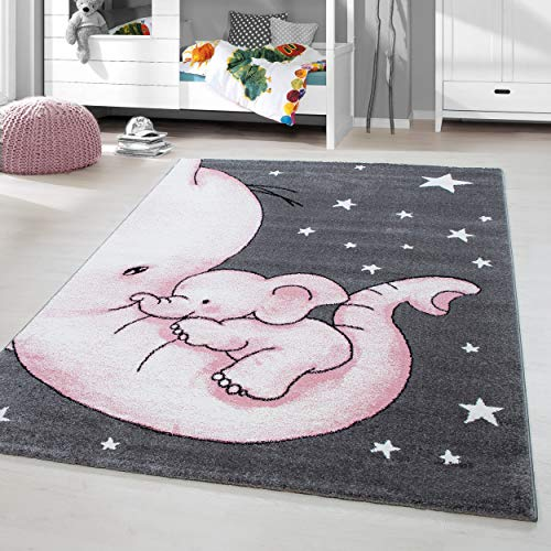 HomebyHome Kinderteppich Kurzflor Elephant Kinderzimmer Babyzimmer Grau Pink Meliert, Größe:80x150 cm