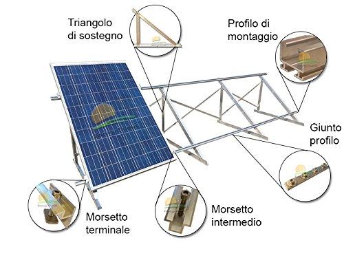 Kit Montagebügel für Fotovoltaikanlagen 6kW auf Dach Plan