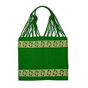 Einkaufstasche Boho San Angel 'grün'; Handgewebt, Handtasche, HANDARBEIT, Tasche, Geschenkidee für Frauen