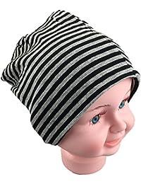 Baby Kinder Jersey Slouch Beanie Long Mütze mit Streifen Unisex Baumwolle Trend