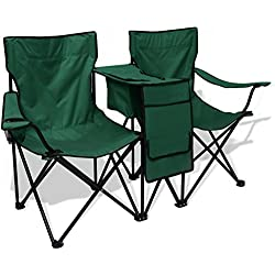 Festnight Silla de Camping Doble 155x47x84 cm Color Verde