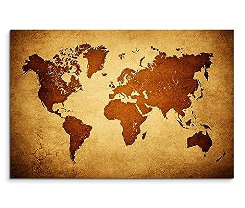 120x80cm Leinwandbild auf Keilrahmen Weltkarte braun beige Wandbild auf Leinwand als Panorama