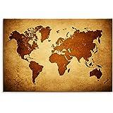 120x 80cm Lienzo en Bastidor Mapa del Mundo marrón beige pared Imagen sobre lienzo como Panorama