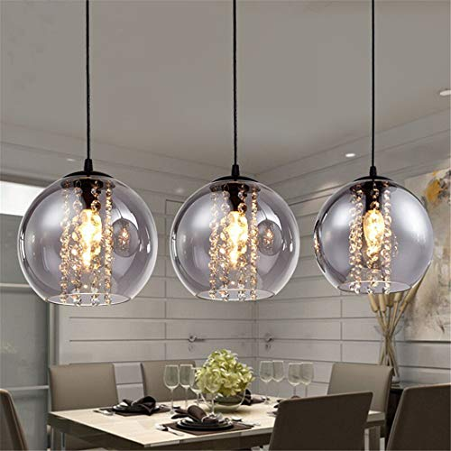 Moderne 20 cm bernstein glas ball pendelleuchte mode diy home deco wohnzimmer kristall led lampe pendelleuchte Smoke Gray Single Ball D20cm -