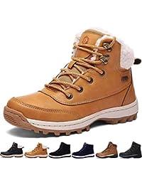 SIXSPACE Botte Homme Neige Hiver Caoutchouc Chaussures de Chaude Fourrees  Mode Bottine Femme en Cuir Boots 4396eaddf34e