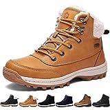 Sixspace Bottes Fourrees Femmes Neige Hiver Antidérapant Chaussures de Chaudes Mode Bottine Hommes en Cuir Boots de Confort Trekking Alpinisme Bottes de Randonnée (Jaune, 38 EU)