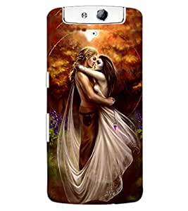 ColourCraft Love Couple Design Back Case Cover for OPPO N1