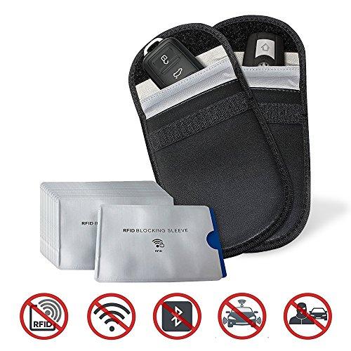 14 Pack - 2X Bolsa Bloqueador de Señal de Llave para Coche, 12x Fundas de Tarjeta de Crédito - 100% Protección Bolsas RFID, Faraday|RFID/NFCSMS/WiFi/3G/4G/Bluetooth/NFC| Antirrobo Bloqueador de Señal