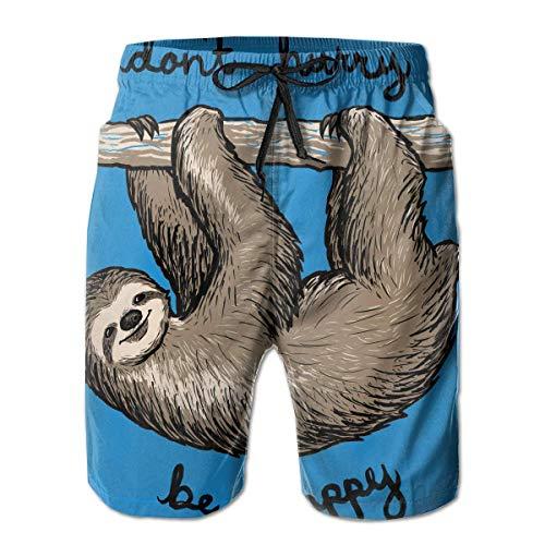 Nacasu Men's Swim Trunks Cute Sloth Don't Hurry Be Happy Casual Sportswear Quick Dry Beach Shorts for Boys Summer XXL (Xl Reyn Spooner)