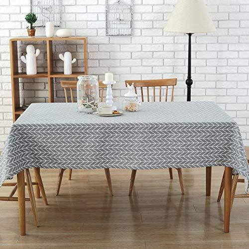 Hunayu 55 '' x 40 '' Geometrische Rechteck Tischdecke Moderne Leinenbaumwollgewebe Platz Plaids Küchentisch Abdeckung für Küche Esszimmer Tisch Dekoration,Grey -