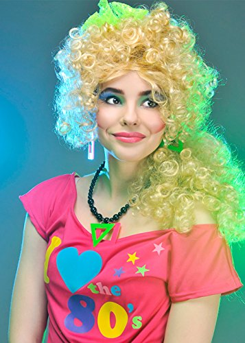 80s Neon Green Fancy Dress Lace Head Scarf