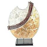 Deko-Leuchte Stimmungsleuchte Stehleuchte Tischleuchte Tischlampe Bali Asia PERLMUTT 36 cm Color Weiß