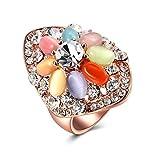 Adisaer Eheringe Frauen Ringe Damen Rosegold Damen 925 Sterling Silber Ringe 14K Vergoldet Rosegold Oval Diamant Kristall Opal Multicolor Größe 54 (17.2) Partnerschaft Süß Ring Für Liebe