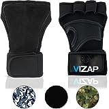Vizap Premium Trainingshandschuhe mit stützender Handgelenkbandage - optimaler Handschutz für Kraftsport & Fitness mit Einer Handinnenfläche aus Büffelleder