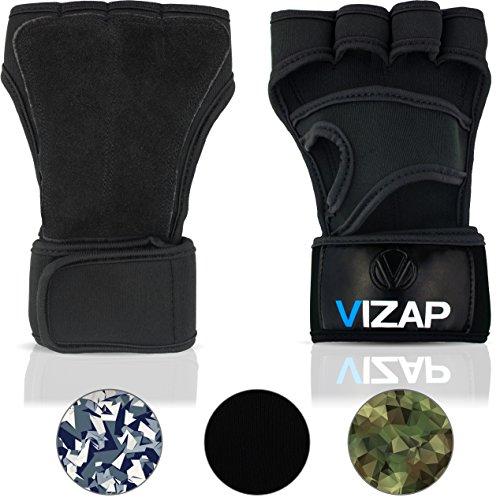 Vizap® Premium Trainingshandschuhe mit stützender Handgelenkbandage - optimaler Handschutz für Kraftsport & Fitness mit Einer Handinnenfläche aus Büffelleder (Schwarz, S)