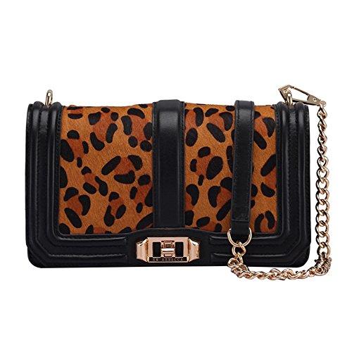 Xuanbao-DP Crossbody Wristlet Clutch Geldbörse Einfache Retro Leopard Kette Schultergurt Platz Leder Umhängetasche Messenger Bag Tote Schulter Reisetaschen -