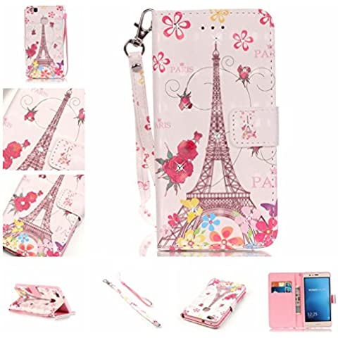 Cozy Hut Shinning Strass Diamante Custodia portafoglio / wallet / libro in pelle per Huawei P9 Lite - Custodia flip cover in Design Paris Rose Tower con scompartimento tessere e funzione supporto in Oro rosa - Paris Rose Tower