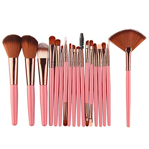 Make-up Pinsel Set, 18 Stück machen Up Pinsel Pulver Pinsel Lip Brush Make-up-Werkzeuge (Rosa)