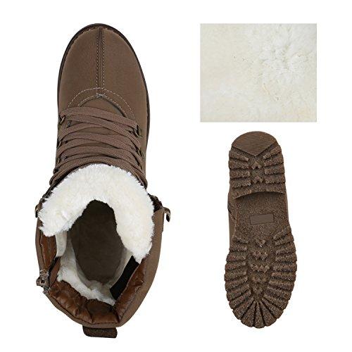 Warm Gefütterte Damen Schnürstiefeletten Profilsohle Stiefeletten Khaki Weiss