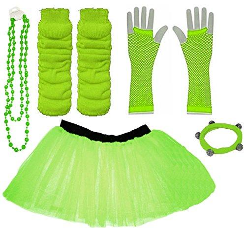 A-Express Grün Mädchen Kinder 8-14 Jahr Neon Tütü Rock Beinstulpen Fischnetz Handschuhe Halskette Tüll Verkleidung Party TutuRock Kostüm Set (Kostüm Kinder Neon)