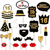 Party Propz 16Th Happy Birthday Photo Booth Props- 20 Pcs
