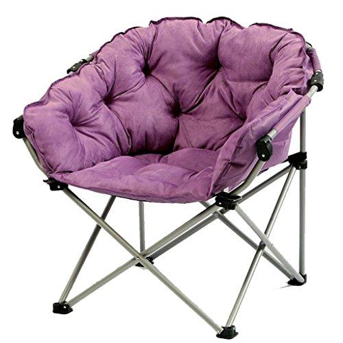Purple Moon Chair Kreative Faul Wildleder Stoff Klapp Sun Liegestühle Waschbar Einzigen Recliners Sofa Bett Runde Stühle mit Rückenlehne Weich Gepolsterte Stuhl Leicht (Outdoor-wildleder-sofa)