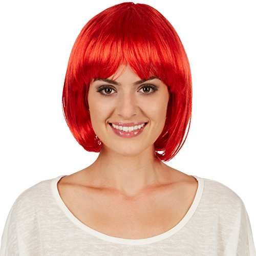 dressforfun Parrucca Caschetto | Bel taglio di capelli con frangia | Abbinabile a molti costumi | -disponibile in diversi colori- (Rosso | no. 301128)