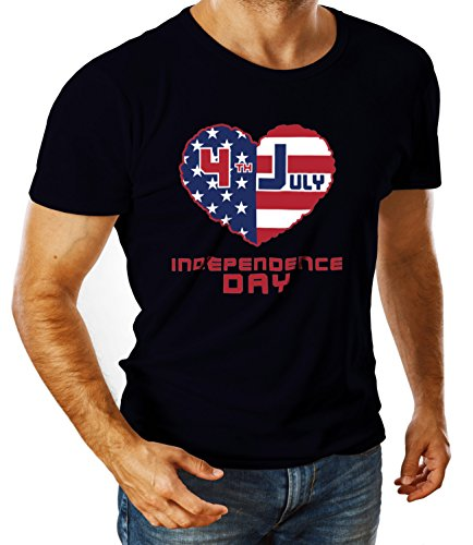 Catch T-Shirts - American Independence Day Flags Collection Men's Ben Crew Neck Classic Tshirt Blu X-Large