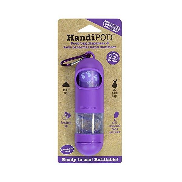 HandiPOD Poop Bag Dispenser with Lemon Scented Hand Sanitiser, Purple 1