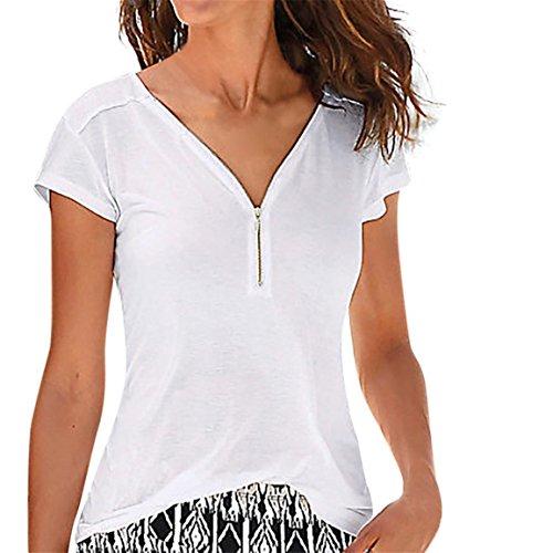 Moonuy Frauen T-Shirt, Damen Kurzarm Top Casual Tops Shirt Damen V-Ausschnitt Reißverschluss Lose Bluse T-Shirt Top 2018 Sommer Heißer Verkauf Kleidung (EU 38/Asien L, Weiß)