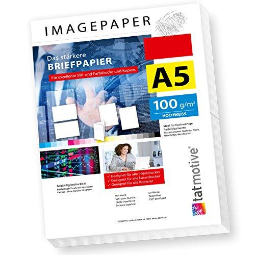 TATMOTIVE Imagepaper 100g/qm A5, das stärkere Briefpapier, brillante Drucke für alle Drucker, 500 Blatt - weiß