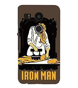 Takkloo working man painting of a iron man,brown background, yellow turban, white kurta) Printed Designer Back Case Cover for LG Nexus 5X :: LG Google Nexus 5X New